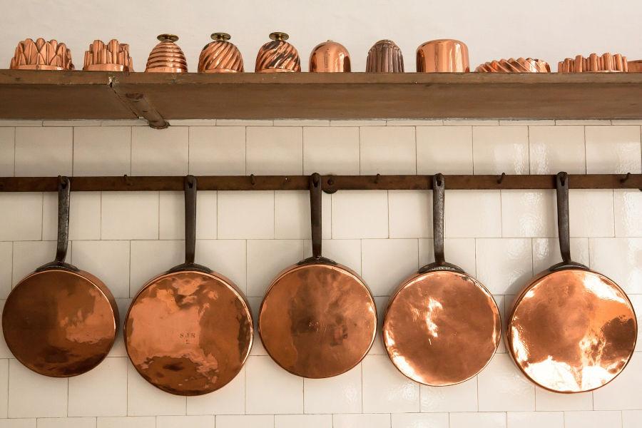 Copper pans.