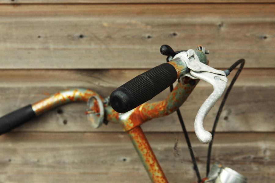 Rusty bike handlebar.