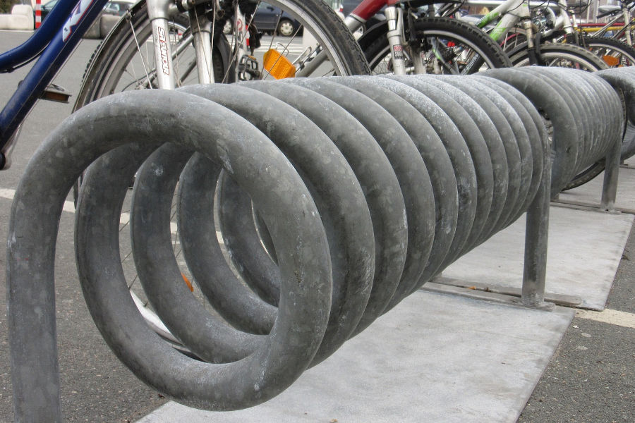 Zinc galvanized bike racks.